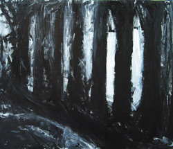 """The Black Curve in the Woods"": abstract gohtic nature scene, abstract sububan scene, black goth painting, black landscape"