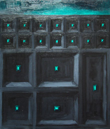 """The Gothic Green Great Wall"" : abstract architecture, gothic wall, Chinese gothic, dark, green, black great wall texture painting"