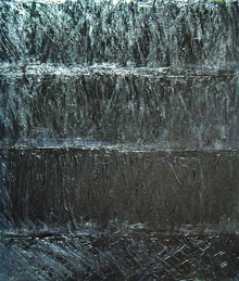 """Black Shower"": abstract natural pattern, abstract water, splashing pattern, black expressionism, black painting"