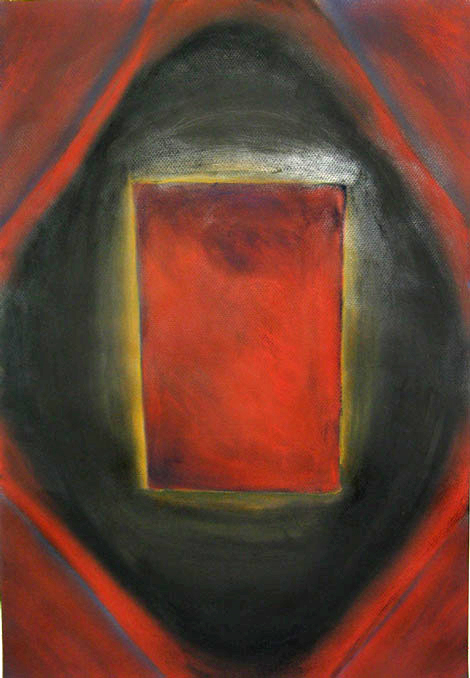 Dark Red Triangle : abstract geometric symbolism dark red pastel painting 2003