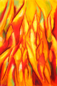 Tipped Flames : abstract epxressionism, natural element, red , yellow, pastel painting pas088, 2003 | Kazuya Akimoto Art Museum