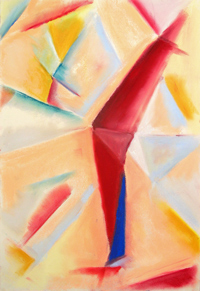 Red Boomerang : pastel color cubism, cubism abstraction, abstract still life pastel painting pas121, 2003 | Kazuya Akimoto Art Museum