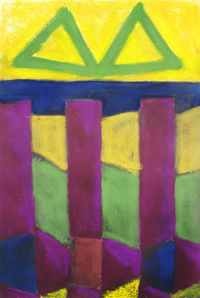 Two Triangles over the Bridge : geometric landscape, abstract landscape, pastel abstract architecture  painting pas131,2003 | Kazuya Akimoto Art Museum
