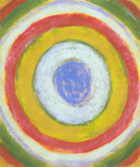 Pastel Target : geometric abstract, concentric circle pattern painting, geometric circle symbolism, geometric pattern, awkward, naive circular stripe design, soft pastel painting pas136, 2003 | Kazuya Akimoto Art Museum