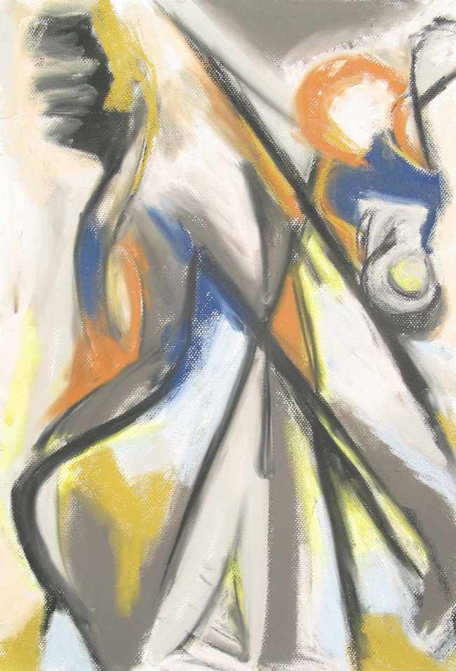 Female Barber Humming At Work Contemporary Abstract Pastel