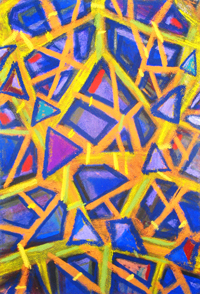 The Pastel Fragments of the Blue Mirror : fragmentary abstract geometric pattern pastel painting, allover pattern, hard thick line pattern, blue and yellow complementary color painting, geometric naive pattern painting, pas156, 2003 | Kazuya Akimoto Art Museum