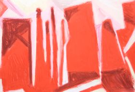 Abstract Pastel Red Tokyo Office Buildings :abstract naive cityscape pastel painting, abstract architectural symbolism, abstract city scene, abstract red pattern symbolism, Tokyo sight, abstract Tokyo office scene, abstract pastel painting, pas157, 2003 | Kazuya Akimoto Art Museum
